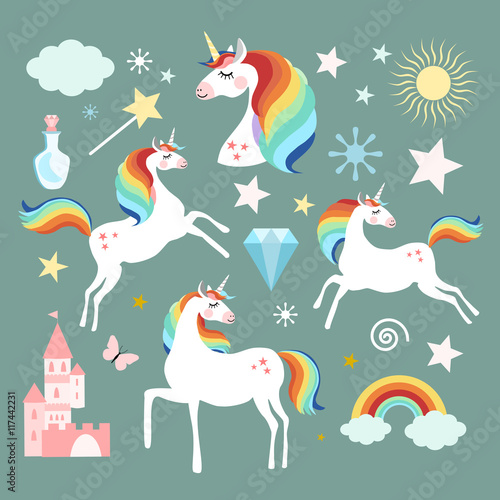 Unicorn fairy magic elements collection, isolated vector objects, flat design