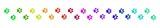bunte Spur aus Katzenpfoten-Abdrücken