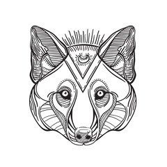 Animal head print for adult anti stress coloring page. Ethnic patterned ornate hand drawn vector illustration. Sketch for tattoo, poster, print or t-shirt. dog head, a wolf and husky