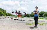 Woman control the flying drone at outdoor