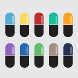 Tablets, capsules with different colors.