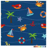 Summer fun kids style cartoon seamless vector pattern