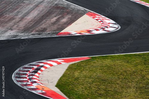 Tuinposter F1 Race track curve road for car racing