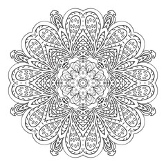 Mandala doodle drawing. floral round ornament. Ethnic motives. Zentangle Hearts, flower petals. Relaxing coloring