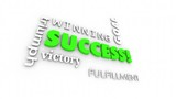 Success Goal Achieved Winner Words Collage 3d Animation