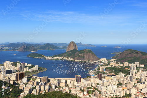 Poster Sugarloaf mountain, Guanabara bay, Botafogo beach, Rio de Janeiro, Brazil