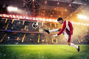 Football action in the stadium