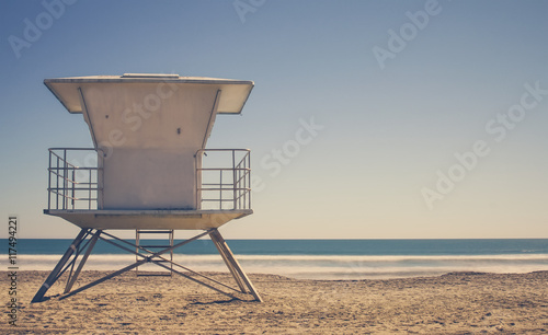 Vintage California Life Guard Station - California beach with life guard tower  - 117494221