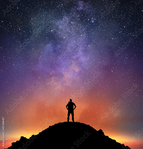 Excursionist observe a bright sky