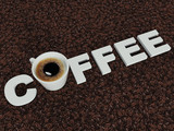 Надпись Coffee на кофейных зернах