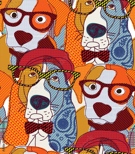 Cotton fabric Dog seamless pattern patchwork.