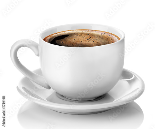 Papiers peints Cafe white cup of coffee isolated on the white background