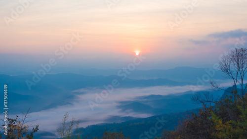Mist mountain in the morning sun