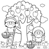 A boy and a girl picking apples under an apple tree. Coloring book page.