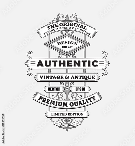 Vintage western antique frame label typography border vector ill ...