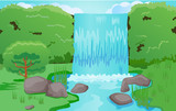 Waterfalls and nature landscape vector image