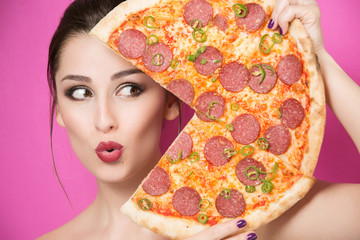 Woman with pepperoni pizza