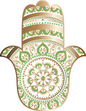 drawing of a Hand of Fatima (Hamsa) in white, gold and green colors on a white background