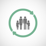 Isolated reuse icon with a conventional family pictogram