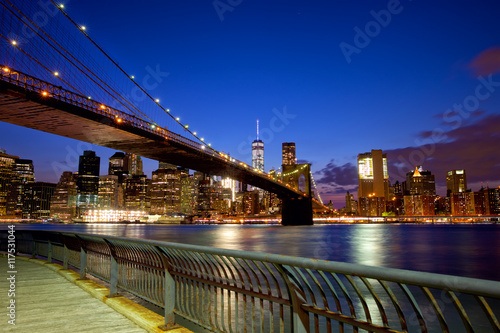 Brooklyn Bridge in New York City Manhattan at dusk
