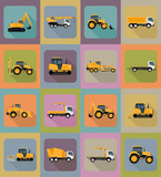 automobile transport for repair and construction flat icons vect