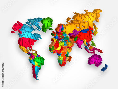 World Map in Typography word cloud concept, names of countries 3D illustration