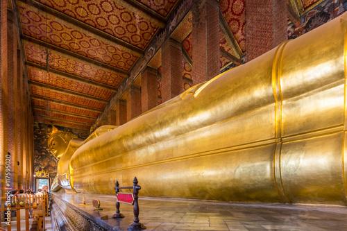 Poster Reclining Buddha of Wat Po in Bangkok, Thailand.