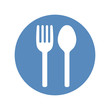 Fork and spoon icon placed in blue circle