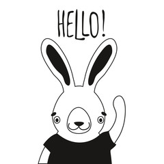 Illustration of cute rabbit in t-shirt and word Hello.