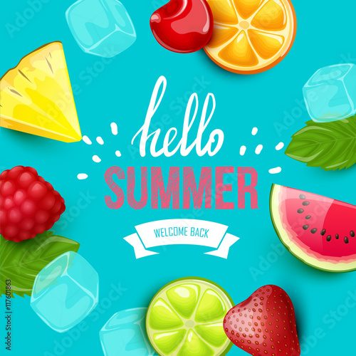 Summer colorful poster. Vector background with fruits. Hello summer handwritten text. - 117601863