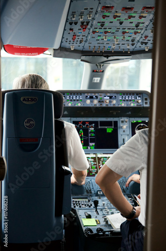 DUSSELDORF - 22nd JULY 2016: Singapore Airlines Airbus A350 cockpit inaugural fl Poster