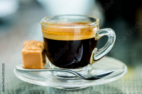 Naklejka Cup of Strong Single Shot Espresso Coffee in a Glass Cup