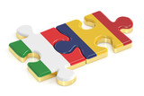 Italy and Romania puzzles from flags, 3D rendering