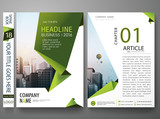 Flyers design template vector.Business brochure report magazine poster layout template.Cover book portfolio presentation abstract green shape on A4 poster.City design on brochure background layout.