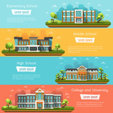 Fototapety Elementary and Middle School buildings outdoors. College and University. High school on landscape. Four horizontal banners with place for text. Vector illustration.