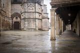 Burgo de Osma historical city center on a rainy day, Soria, Spain