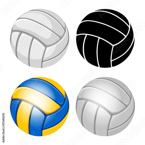 Fototapeta Volleyball Balls set. Sports equipment. Realistic and stylized Vector Illustration. Isolated on White Background.