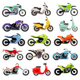 Fototapety Classic motorcycle motorbike flat vector icons