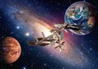 Space shuttle planet interstellar satellite international station Earth Mars. Elements of this image furnished by NASA.