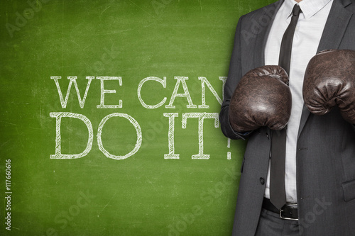 Poster We can do it on blackboard with businessman on side