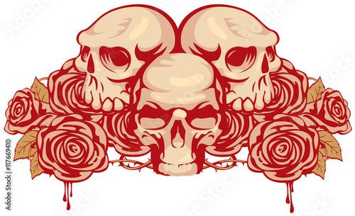 Zdjęcia na płótnie, fototapety, obrazy : emblem with three human skulls and rose