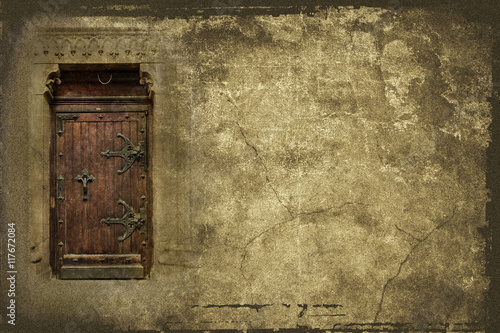 Vintage background with old wooden door and copy space