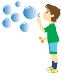 the boy who is starting up soap bubbles.