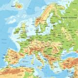 Fototapety Europe - Physical Map