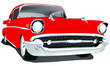 Vector Vintage Classic Car with one layer background color for easy change