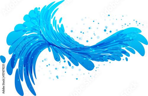Water splash vector on white background