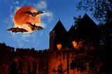 Full moon, bats, old castle at night