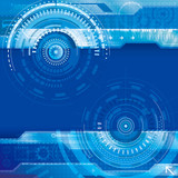 Blue technology futuristic composition digital abstract background.