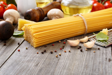Spaghetti with different ingredients for cooking pasta