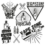 Vector set of vape shop labels in vintage style. Design elements, icons, logo, emblems and badges isolated on white background